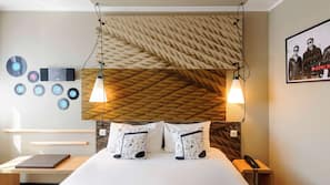 Hypo-allergenic bedding, desk, laptop workspace, soundproofing