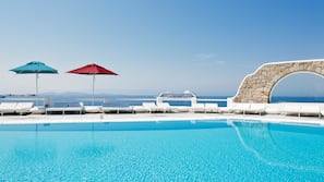 Seasonal outdoor pool, pool umbrellas, sun loungers