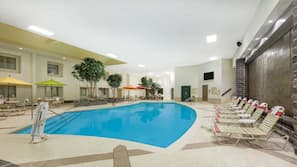 Indoor pool, open 9:00 AM to 9:00 PM, pool umbrellas, sun loungers