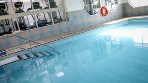 Indoor pool, open 6:30 AM to 8:00 PM, pool loungers