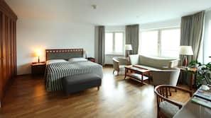 1 bedroom, down comforters, memory foam beds, minibar