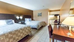 Blackout curtains, iron/ironing board, free WiFi, alarm clocks