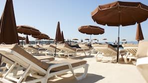 Private beach nearby, sun loungers, beach umbrellas, beach towels