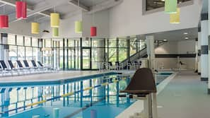 Indoor pool, open 10:00 AM to 8:00 PM, pool umbrellas, sun loungers