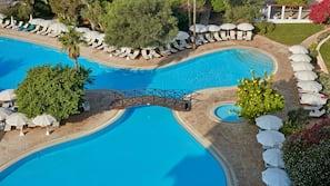 Indoor pool, outdoor pool, open 8:00 AM to 6:00 PM, pool umbrellas