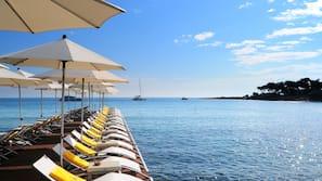 Private beach nearby, sun loungers, beach umbrellas, beach bar