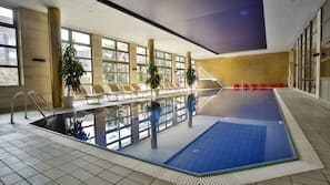 Indoor pool, open 7:00 AM to 7:30 PM, pool loungers