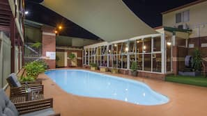 Outdoor pool, open 6:00 AM to 5:00 PM, pool umbrellas, pool loungers