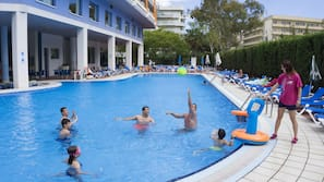 Outdoor pool, open 11:00 AM to 7:00 PM, pool umbrellas, pool loungers