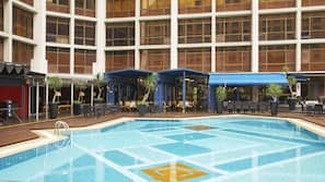Outdoor pool, open 9:00 AM to 9:00 PM, pool umbrellas, pool loungers