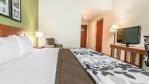 Hypo-allergenic bedding, down comforters, desk, iron/ironing board