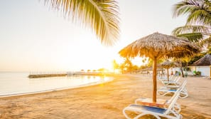 Private beach, sun-loungers, beach towels, snorkelling