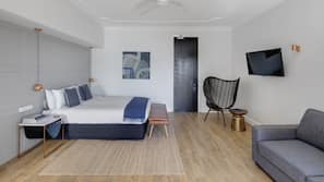 Laptop workspace, blackout curtains, iron/ironing board