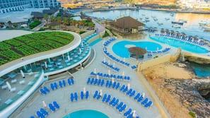 3 indoor pools, seasonal outdoor pool, pool umbrellas, pool loungers