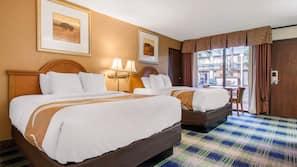 Pillowtop beds, WiFi, bed sheets, alarm clocks