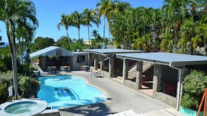 Outdoor pool, open 10:00 AM to 11:00 PM, sun loungers