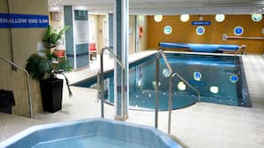 Indoor pool, open 7 AM to 9 PM, pool loungers
