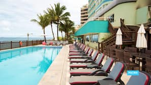Outdoor pool, open 7:00 AM to 6:00 PM, sun loungers