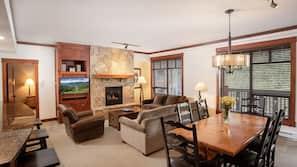LCD TV, fireplace, DVD player, heated floors