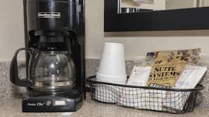 Mini-fridge, microwave, coffee/tea maker