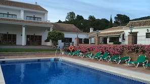 Outdoor pool, open 10:00 AM to 7:30 PM, pool umbrellas, pool loungers