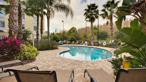 Outdoor pool, open 7 AM to 10 PM, sun loungers
