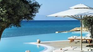 Außenpool, Infinity-Pool, Sonnenschirme