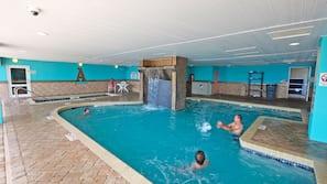 Indoor pool, outdoor pool, sun loungers
