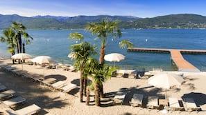 Private beach, sun-loungers