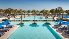 Indoor pool, outdoor pool, open 7:00 AM to 11:00 PM, pool umbrellas