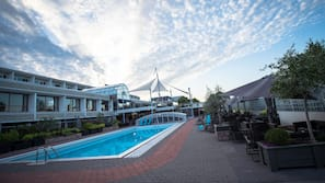 Seasonal outdoor pool, open 8 AM to 7 PM, sun loungers
