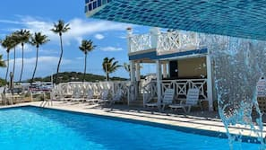 Outdoor pool, open 7:00 AM to 9:00 PM, pool umbrellas, sun loungers