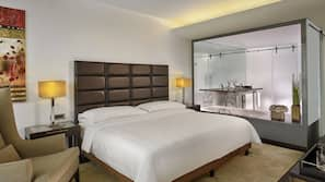 1 bedroom, hypo-allergenic bedding, down comforters, minibar