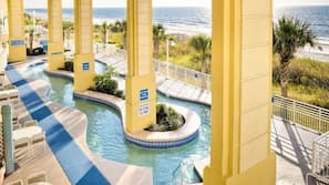 2 indoor pools, 3 outdoor pools, open 9:00 AM to 7:00 PM, pool umbrellas