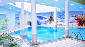 Indoor pool, open 9:30 AM to 9:00 PM, free pool cabanas, pool loungers