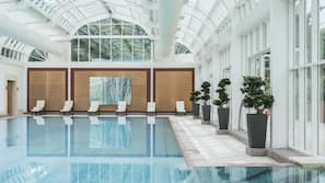 2 indoor pools, open 6:30 AM to 10:00 PM, pool loungers