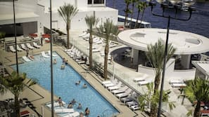 2 outdoor pools, open 10 AM to 10 PM, cabanas (surcharge), sun loungers
