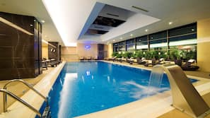 Indoor pool, open 8:00 AM to 10:00 PM, free pool cabanas, pool loungers