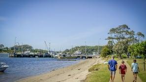 On the beach, kayaking, motor boating, fishing