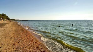 On the beach, fishing