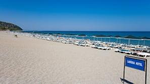 Private beach nearby, sun loungers, beach umbrellas, beach volleyball