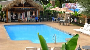 Seasonal outdoor pool, open 10 AM to 8:00 PM, cabanas (surcharge)