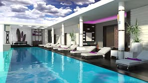 6 outdoor pools, pool umbrellas, sun loungers