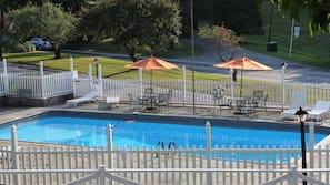 Seasonal outdoor pool, open 8:00 AM to 9:00 PM, free pool cabanas