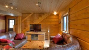 Flat-screen TV, fireplace, DVD player, iPod docking station