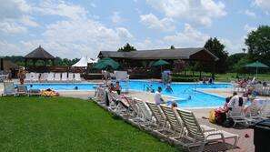Seasonal outdoor pool, sun loungers