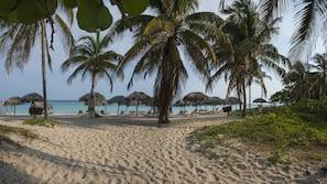 On the beach, beach umbrellas, beach bar