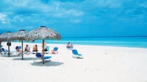 On the beach, white sand, scuba diving, beach volleyball