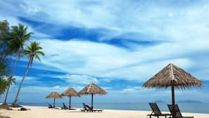 On the beach, sun-loungers, scuba diving, kayaking
