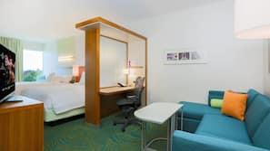1 bedroom, pillow top beds, desk, blackout curtains